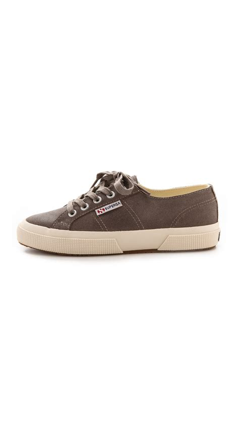 superga suede sneakers superga 2750 waxed suede sneakers sand in brown lyst
