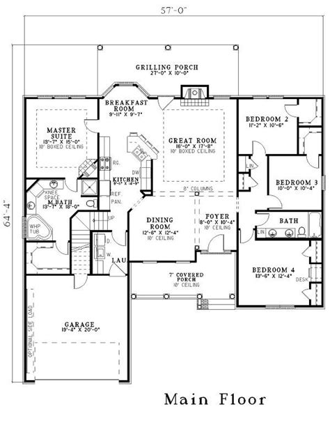 floor plan of a house with dimensions 153 1440 house plan revised for grt room dimensions