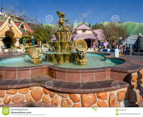 sections of disneyland mickey mouse fountain in the toontown editorial image