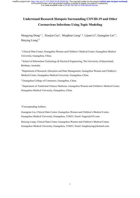 (PDF) Understand Research Hotspots Surrounding COVID-19