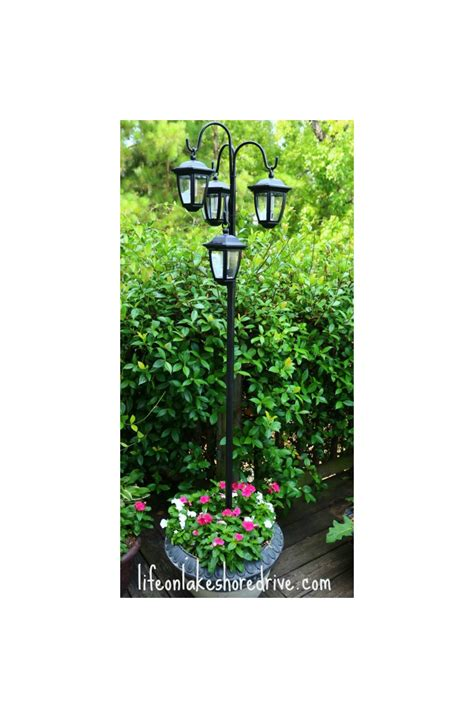 diy solar lights outdoor hometalk easy diy solar lights l post with flower planter