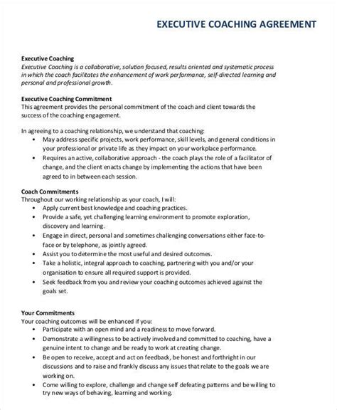executive coaching template 50 basic contract templates