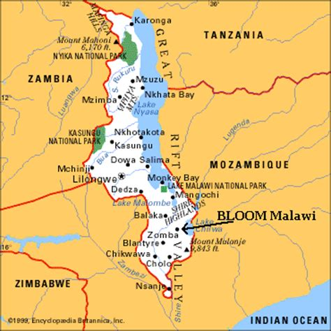 geographical map of malawi malawi geography