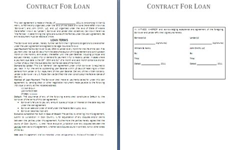 money agreement template money loan contract template free free printable documents