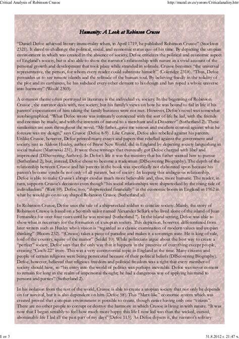 Robinson Crusoe Essay by Robinson Crusoe Analysis