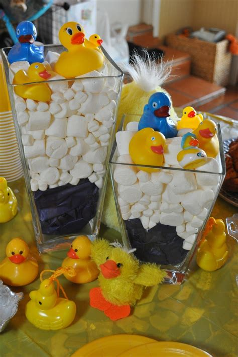 Blue Tissue Paper Marshmallows And Bath Ducks To Create Inexpensive Baby Shower Centerpieces