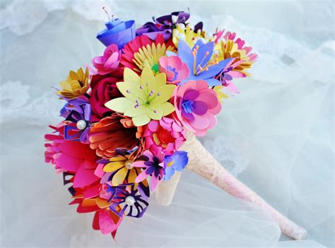 How To Make Paper Bouquets For Weddings - paper flowers wedding bouquet wildflower bouquet