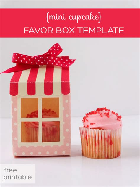 mini cupcake box free printable
