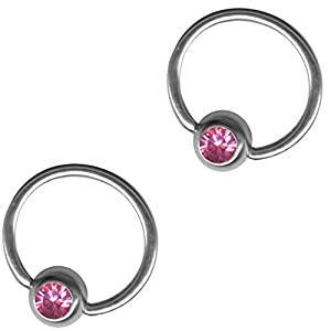 20g captive bead ring two pink captive bead rings 20g 18g 16g
