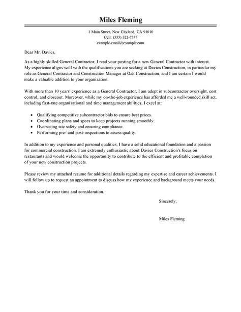 Cover Letter In Construction Leading Professional General Contractor Cover Letter Exles Resources Myperfectcoverletter