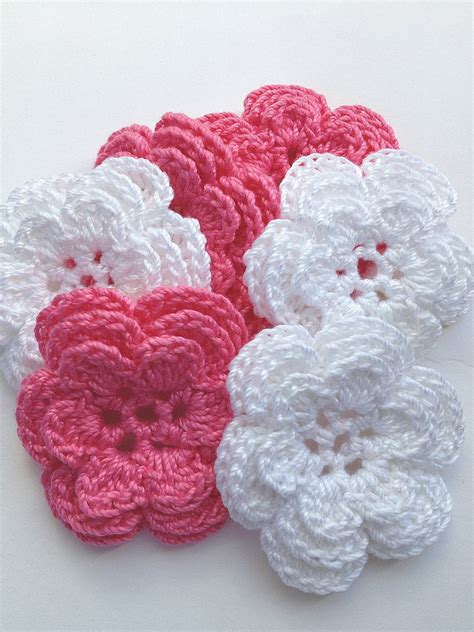 Handmade Crochet Flowers - crochet flower appliques 6 handmade three layer flowers