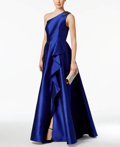 adrianna papell draped shoulder gown adrianna papell draped one shoulder faille gown dresses