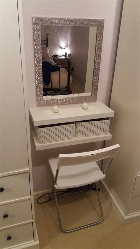 diy dressing table 2 floating shelves crates seat and