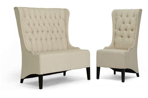 luxury table ls living room vincent beige linen modern loveseat bench and chair set