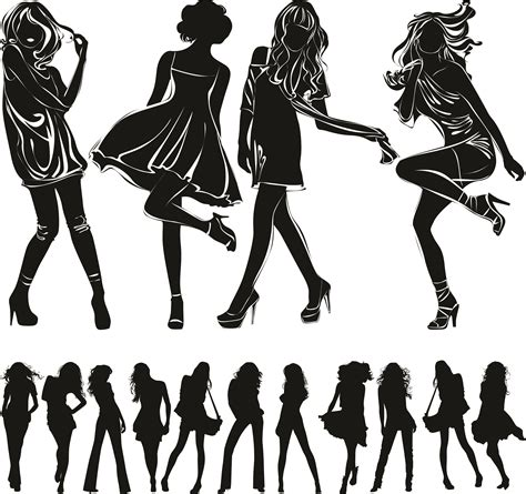 white silhouette beautiful girl black and white silhouette vector free