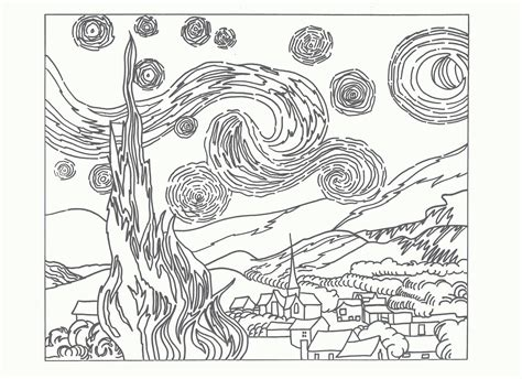 van gogh coloring pages pdf coloring page starry night van gogh high quality