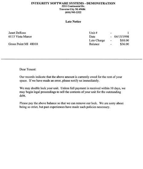 Overdue Rent Letter Sle Image Gallery Late Notice