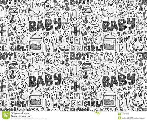 doodle baby doodle baby seamless pattern background stock vector