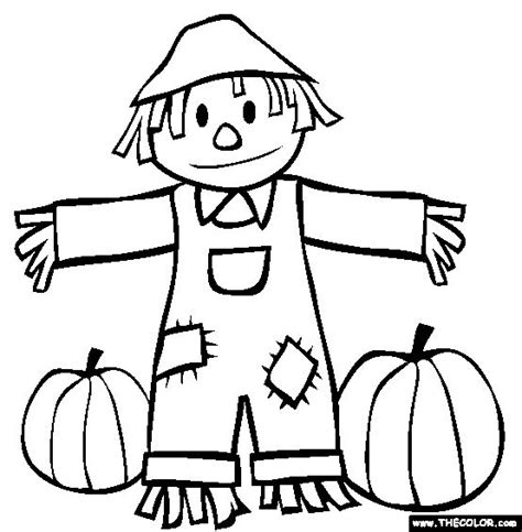 Fall Scarecrow And Pumpkins Coloring Page Coloring Book Scarecrow Color Page