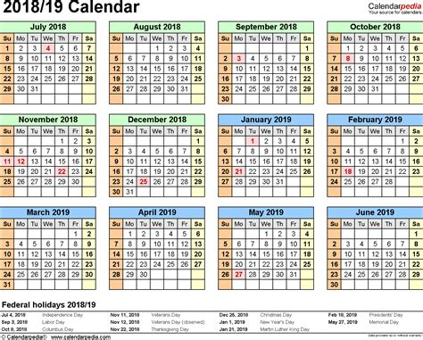 2018 19 School Calendar Template Word split year calendar 2018 19 july to june word templates