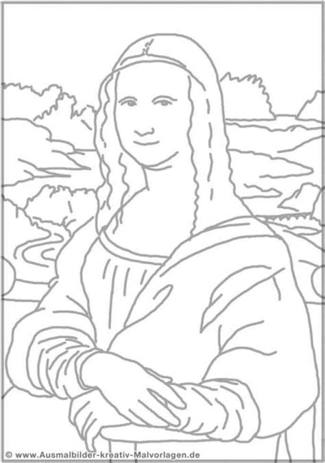 basic and simple mona lisa coloring pages for toddlers