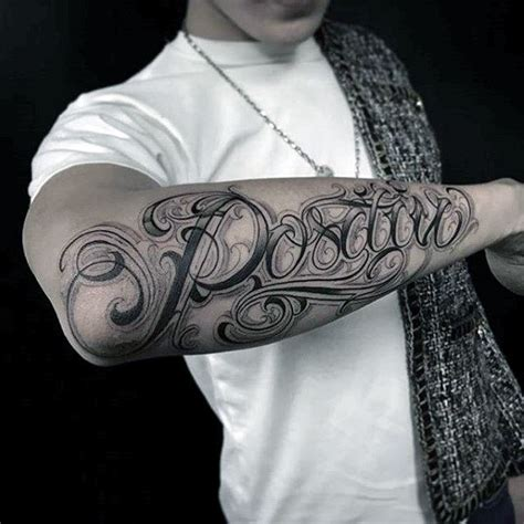 tattoo name on forearm script cursive mens different outer forearm name tattoo