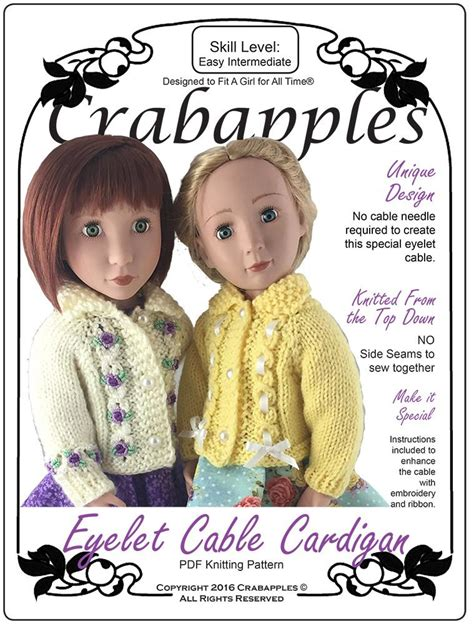 a for all time doll patterns crabapples eyelet cable cardigan doll clothes knitting