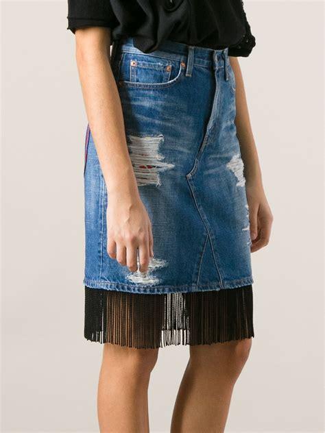 junya watanabe fringed denim skirt in blue lyst