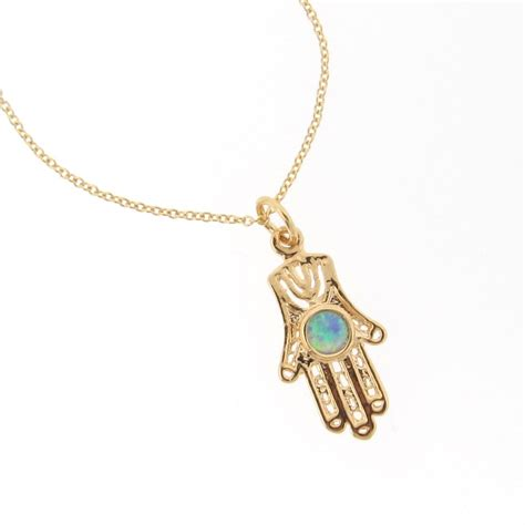 hama necklace 14k gold filled hamsa necklace with opal 16 quot from