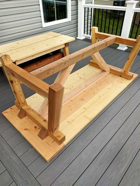 diy truss beam farmhouse style outdoor table  benches