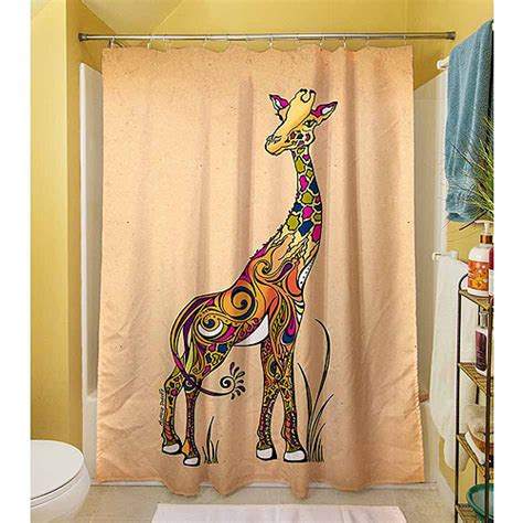 giraffe shower curtains thumbprintz giraffe shower curtain 71 quot x 74 quot walmart com