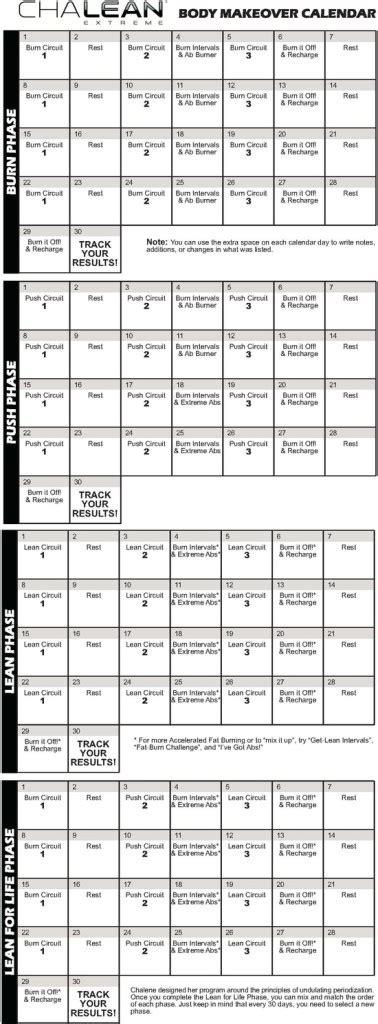 Chalean Workout Calendar Chalean Schedule New Calendar Template Site