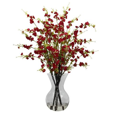 cherry blossom arrangements red cherry blossoms with vase silk flower arrangement