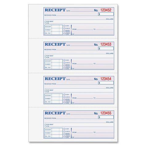 printable cash receipt book adams money rent receipt book 3 part 100 bk ld products