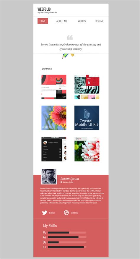 Mobile Design Psd Template minimal portfolio template psd with mobile version