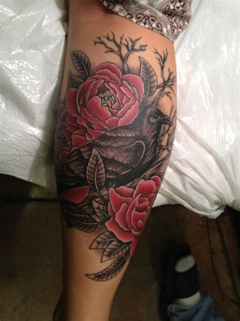 rose tattoo on calf on calf for design idea for and