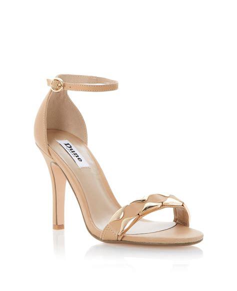 dune heels sandals dune halette leather ankle stiletto sandals in gold