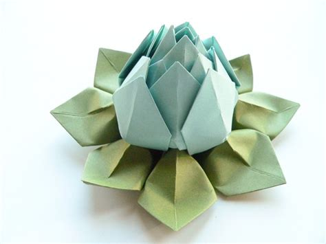 Origami Flower Decorations - origami lotus flower in robin s egg blue and moss green