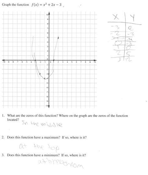 printable quadratic graphs understanding graphing worksheet answers worksheets