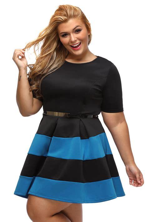 cheap royal blue stripes detail belted plus size skater dress
