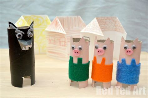 Fairy Tale Crafts: 3 Little Pigs   Red Ted Art's Blog