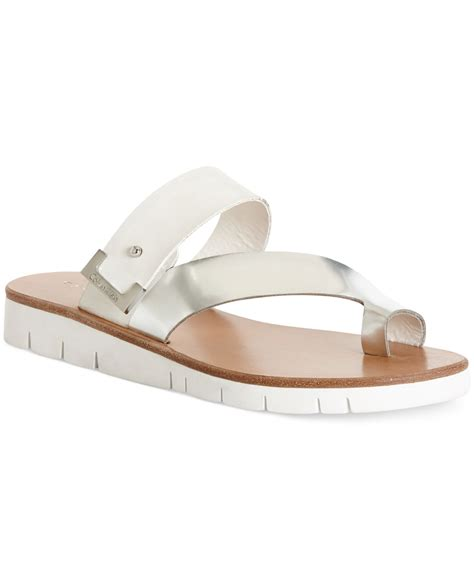 klein sandals calvin klein s pax assymetical sandals in metallic
