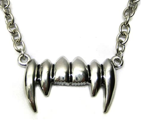 silver dracula fang teeth necklace 218911