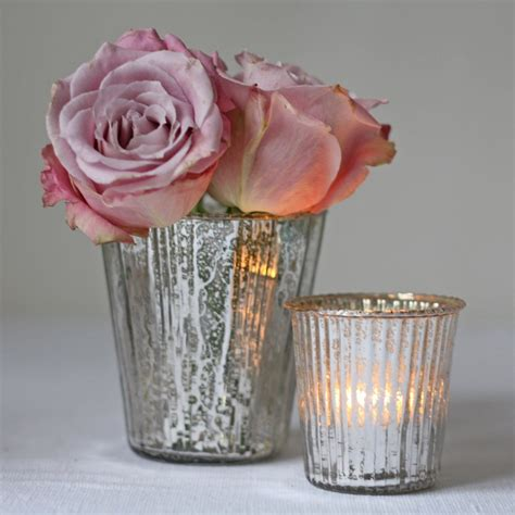 ribbed mercury glass vase or votive silver the wedding