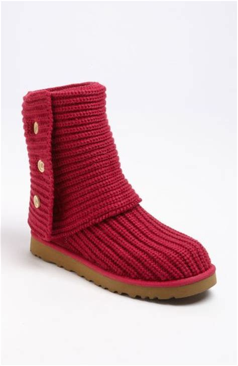 ugg boots knit ugg cardy classic knit boot in ruby lyst