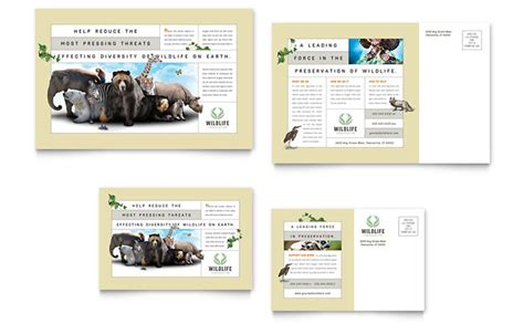 nature wildlife conservation postcard template design