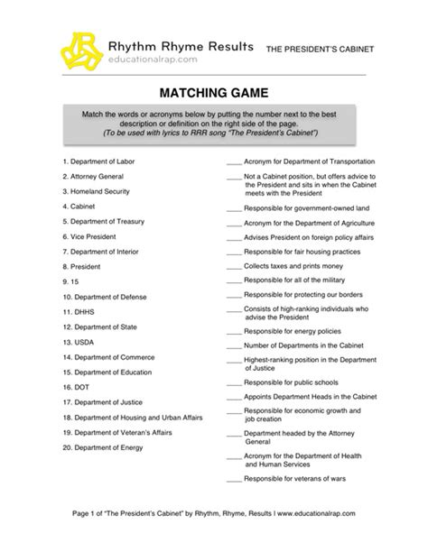 Presidential Cabinet Worksheet social studies educational songs free worksheets and
