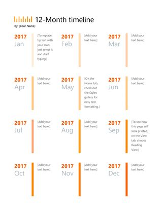 12 month calendar template word 12 month timeline office templates