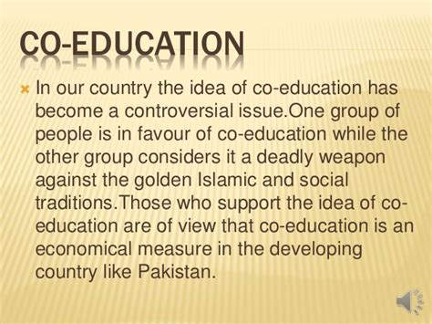 Co Education Essay by Co Education