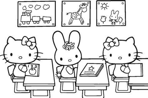 hello kitty back to coloring page free printable